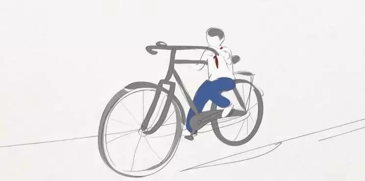 小时候学骑自行车